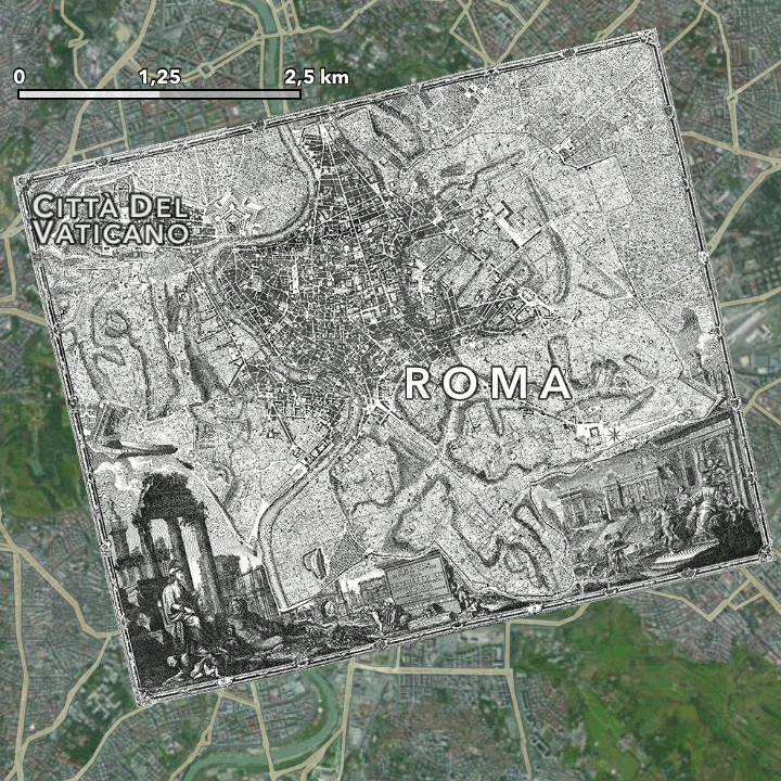 The position of Giambattista Nolli's map in the city of today